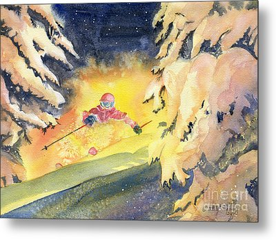 Skiing Art Metal Print