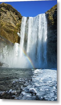 Skogafoss Waterfall Iceland In Winter Metal Print by Matthias Hauser