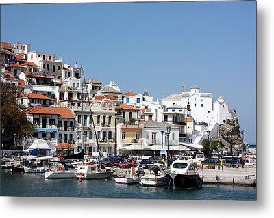 Skopelos Harbour Greece Metal Print by Yvonne Ayoub
