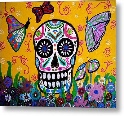 Metal Print featuring the painting Skull And Butterflies by Pristine Cartera Turkus