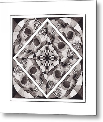 Skull Mandala Series Number Two Metal Print by Deadcharming Art