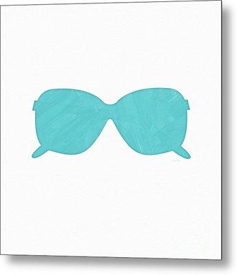 Sky Blue Sunglasses- Art By Linda Woods Metal Print by Linda Woods