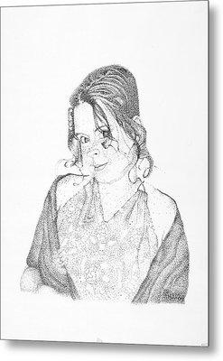 Metal Print featuring the drawing Skye by Mayhem Mediums