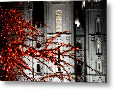 Slc Temple Red White N Black Metal Print