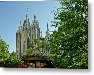 Slc Temple Trees Metal Print by La Rae  Roberts