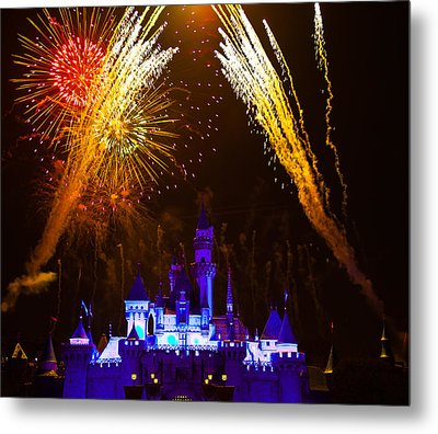 Sleeping Beauty Castle And Fireworks Metal Print by Sam Amato