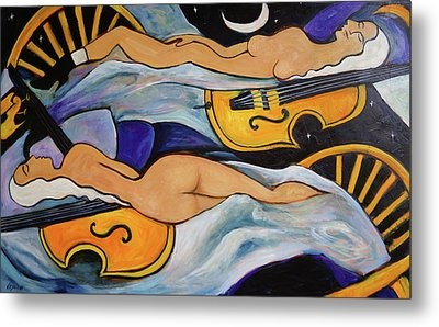 Sleeping Cellists Metal Print by Valerie Vescovi