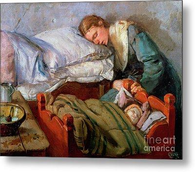 Sleeping Mother, 1883 Metal Print by Christian Krohg