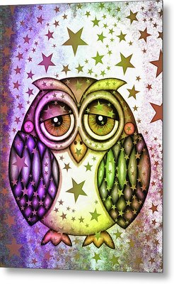 Metal Print featuring the photograph Sleepy Owl With Stars by Matthias Hauser