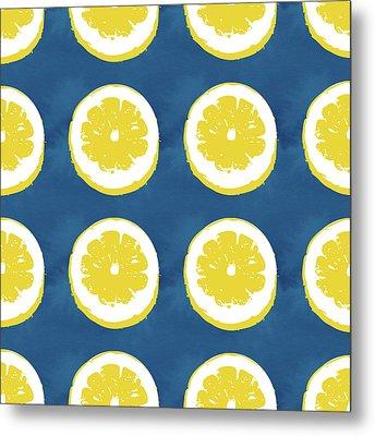Sliced Lemons On Blue- Art By Linda Woods Metal Print by Linda Woods