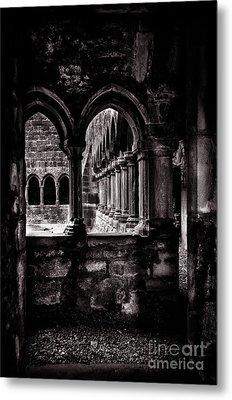 Metal Print featuring the photograph Sligo Abbey Interior Bw by RicardMN Photography