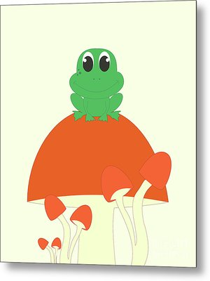 Small Frog Sitting On A Mushroom  Metal Print