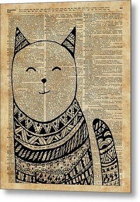 Smiling Cat Pen And Ink Zentagle Dictionary Art Metal Print