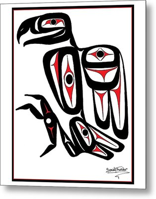 Smiling Eagle Red Metal Print by Speakthunder Berry