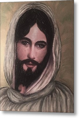 Smiling Jesus Metal Print by Cena Caterine