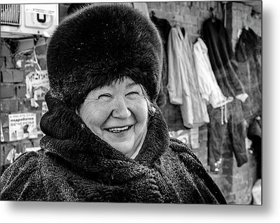 Metal Print featuring the photograph Smiling Woman With Squinting Eyes by John Williams