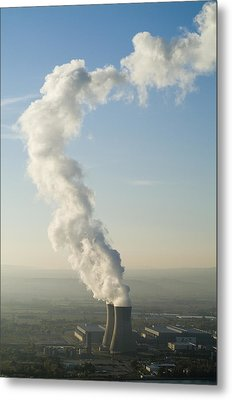 Smoke Emitting From Cooling Towers Of Tricastin Nuclear Power Plant Metal Print by Sami Sarkis