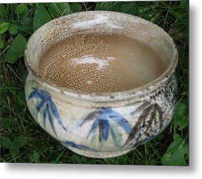 Smoke-fired Bamboo Leaves Bowl Metal Print by Julia Van Dine