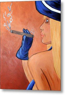 Smokin Madam Metal Print by Victoria  Johns
