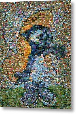 Smurfette The Smurfs Mosaic Metal Print by Paul Van Scott