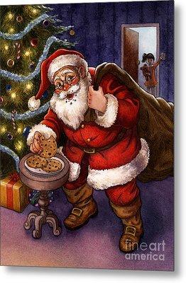 Sneaky Santa Metal Print by Isabella Kung