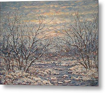 Snow By Brook. Metal Print