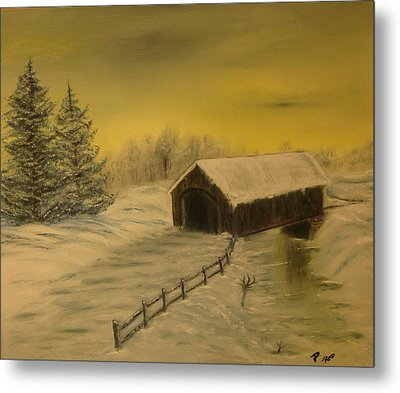 Snow Covered Bridge Metal Print by Delnora Reed