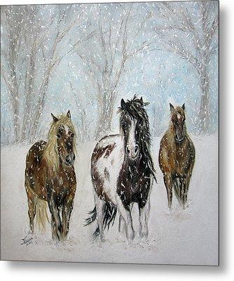 Snow Horses Metal Print by Teresa Vecere