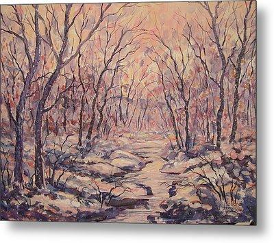 Snow In The Woods. Metal Print
