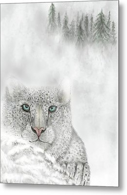 Metal Print featuring the digital art Snow Leopard by Darren Cannell