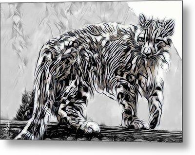 Metal Print featuring the digital art Snow Leopard by Pennie McCracken