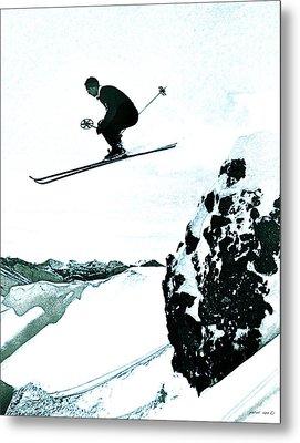 Snow Skiing Metal Print