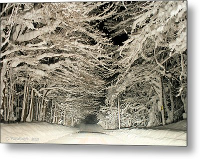 Snow Tunnel At Night Metal Print by Carolyn Postelwait