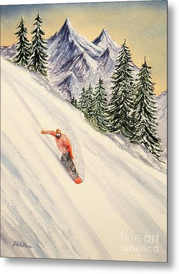 Snowboarding Free And Easy Metal Print