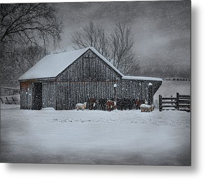 Snowflakes On The Farm Metal Print