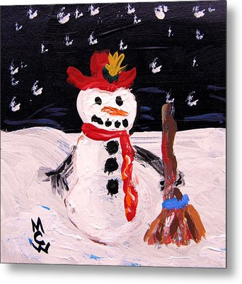 Metal Print featuring the painting Snowman Under The Stars by Mary Carol Williams
