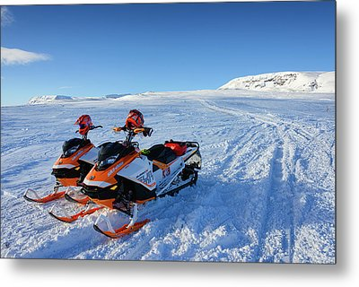 Snowmobiles In Iceland In Winter Metal Print by Matthias Hauser