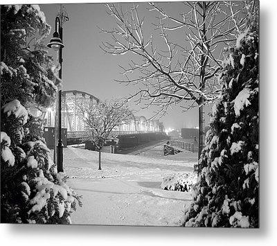 Snowy Bridge With Trees Metal Print by Jeremy Evensen