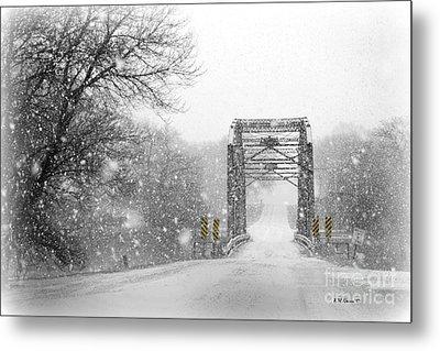 Snowy Day And One Lane Bridge Metal Print