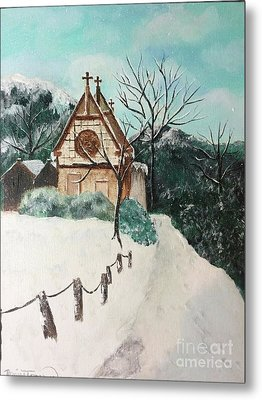 Metal Print featuring the painting Snowy Daze by Denise Tomasura