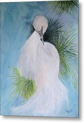 Snowy Egret Metal Print by Maris Sherwood