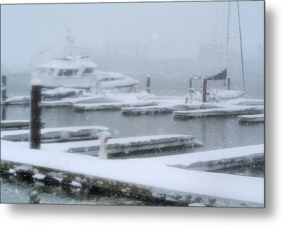 Snowy Harbor Metal Print
