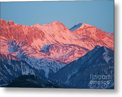Snowy Mountain Range With A Rosy Hue At Sunset Metal Print by Sami Sarkis