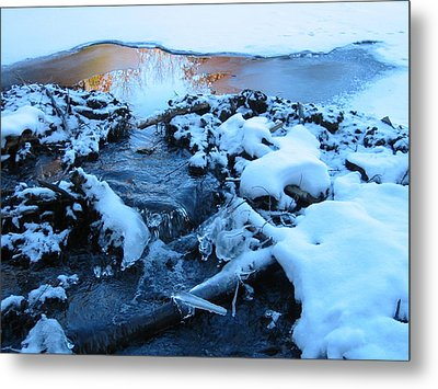 Snowy Reflections Metal Print by Angela Murray