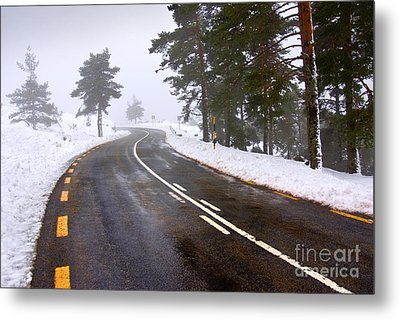 Snowy Road Metal Print by Carlos Caetano