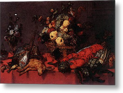 Snyders Frans Still Life With A Basket Of Fruit Metal Print