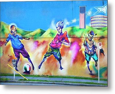 Soccer Graffiti Metal Print by Theresa Tahara