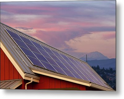 Solar Panels On Roof Of House Metal Print by David Gn