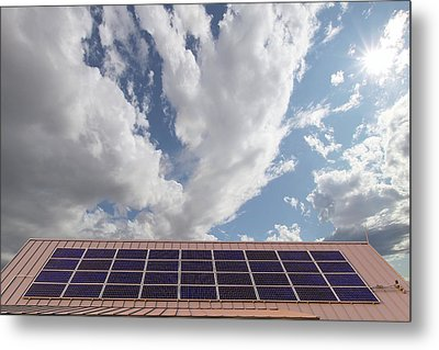 Solar Panels On Roof Top Metal Print by David Gn