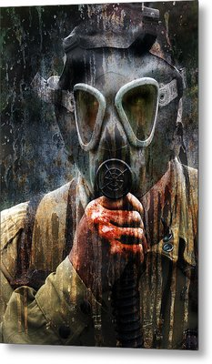 Soldier In World War 2 Gas Mask Metal Print by Jill Battaglia